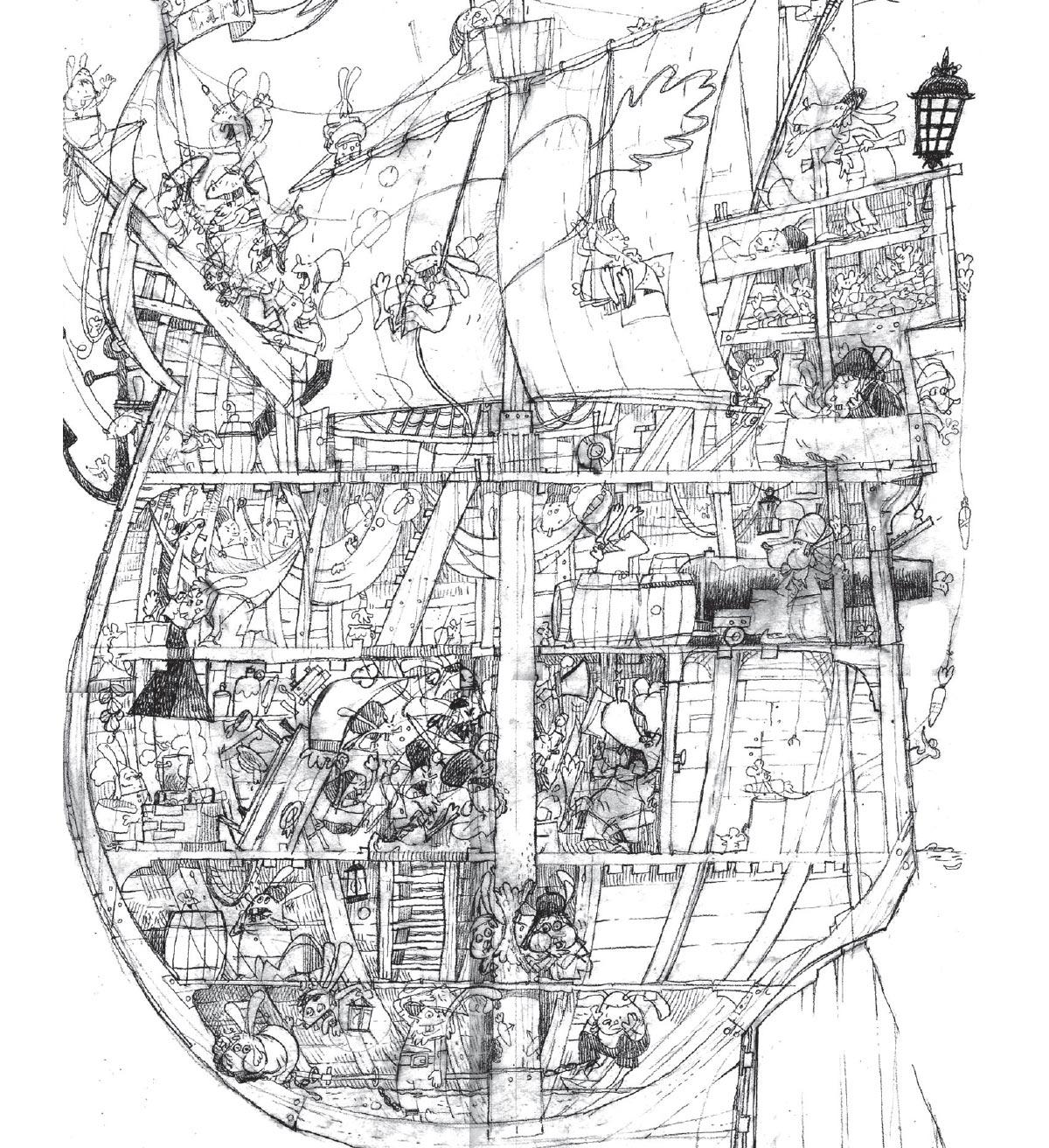 Croquis de la caravelle de Christophus Lapinobellomus Colombus « C'est une image un peu différente des autres. Il n'y a que très peu de carottes, les lapins sont au bord de la folie, et la Carotte Bleue n'est pas difficile à trouver. Je voulais que la folie et la peur se lisent sur le visage des personnages, une sorte de vaisseau de l'angoisse qui aurait illustré la légendaire malédiction des lapins sur un bateau. »