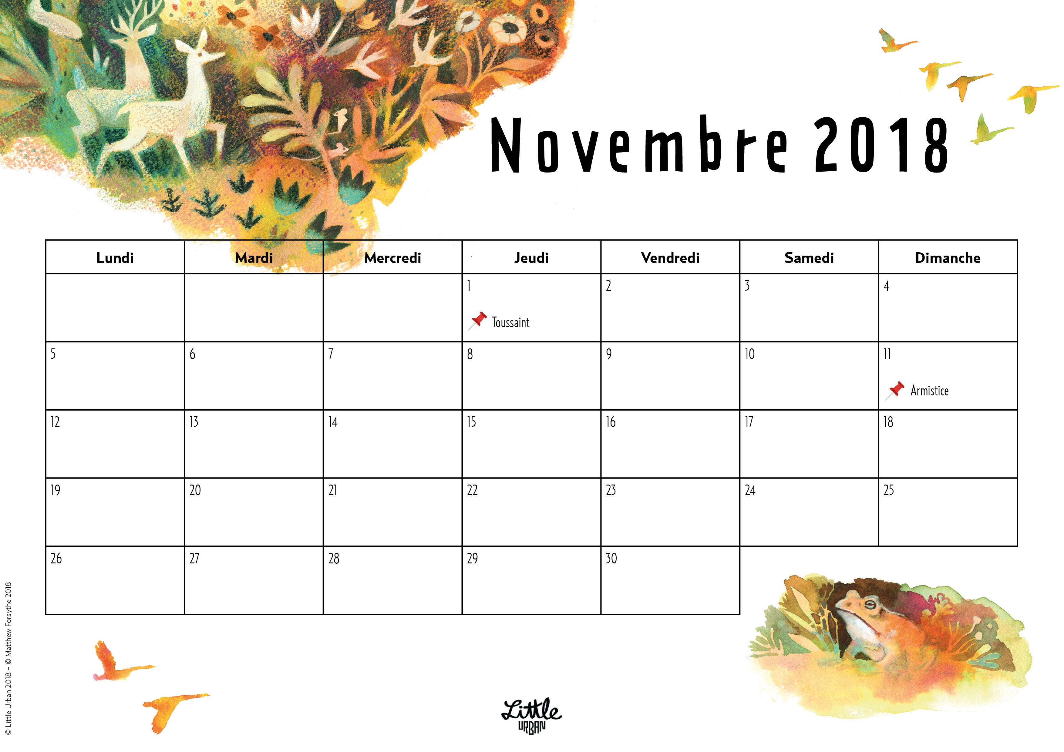 Calendrier - novembre